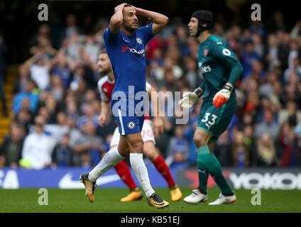 Pedro von Chelsea zeigt seine Frustration nach, in die Nähe des zählen während der Premier League Spiel zwischen - Stockfoto