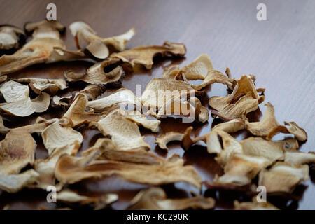 Getrocknete Steinpilze Pilze Schichten essen Hintergrund Textur - Stockfoto