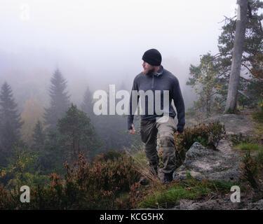 Menschen wandern im Wald am nebligen Morgen - Stockfoto