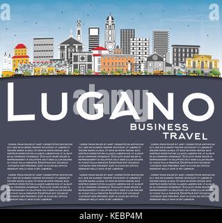 Lugano Schweiz Skyline mit grauen Gebäude, blauer Himmel und Kopieren. Vector Illustration. Business Travel und - Stockfoto