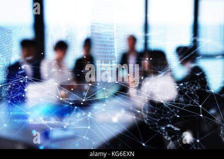 Silhouette der Unternehmer im Büro mit Netzwerk Wirkung. Konzept der Partnerschaft und Zusammenarbeit. - Stockfoto