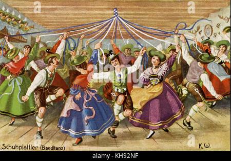 Schuhplattler-alpine Volkstanz von Bayern und Österreich österreichische Postkarte, C. 1910. - Stockfoto