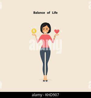 Hübsche Frau, Junge Frau mit der goldenen Münzen und rotes Herz Symbol auf Ihrer Hand. Konzept von Arbeit und Leben - Stockfoto