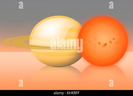 Rote Zwerg eblm j 0555-57 ab im Vergleich zu Saturn, Illustration. eblm j 0555-57 ab ist 600 Lichtjahre von der - Stockfoto