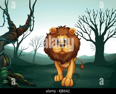 Abbildung: ein Löwe in einem unheimlichen Wald - Stockfoto