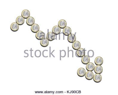 Finanzielle chart Negativ, mit Euro-münzen, auf weißem Hintergrund - Stockfoto