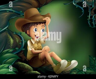 Abbildung: Ein junger Herr in den Regenwald - Stockfoto