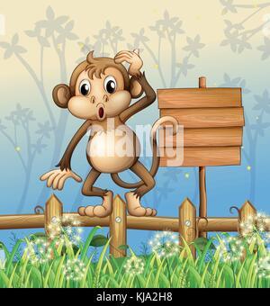 Abbildung: Ein Affe stehend in einem Zaun neben einem leeren Brett - Stockfoto