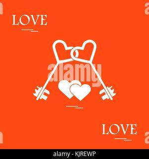 Cute Vector Abbildung: Liebe Symbole: Herz Schlüssel Symbol und zwei Herzen. Romantische Kollektion. Design für - Stockfoto