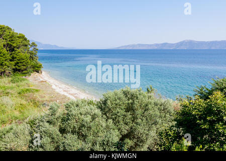 Verschiedene Vegetation rund um Meer Bucht. weit entfernten Inseln als Silhouette über Meer. - Stockfoto