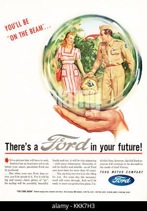 1945 US-Magazin Ford Motor Company Anzeige - Stockfoto