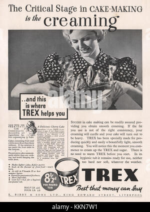 1938 UK Magazin Trex Butter Alternative Anzeige - Stockfoto