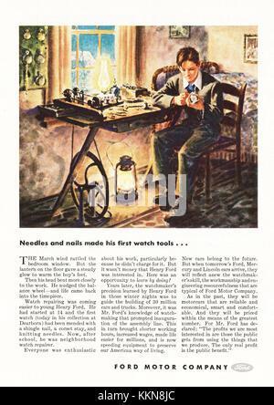 1943 US-Magazin Ford Motor Company Anzeige - Stockfoto