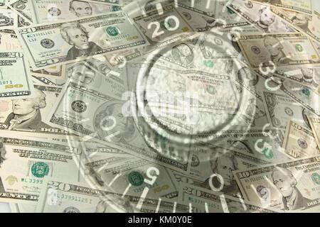 Zahlenschloss wählen und amerikanische Banknoten - Stockfoto