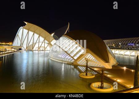 Heisférico und Wissenschaftsmuseum Principe Felipe, der Stadt der Künste und Wissenschaften in Valencia, Spanien. - Stockfoto