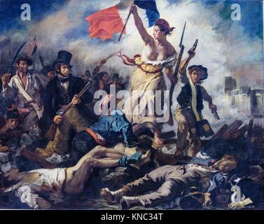 "Die Freiheit führt das Volk (La Liberté guidant le peuple""), Eugène Delacroix, 1830, Öl auf Leinwand, Romantik, - Stockfoto"