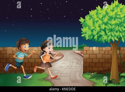 Abbildung: Kinder und einen Zaun in einer dunklen Nacht - Stockfoto
