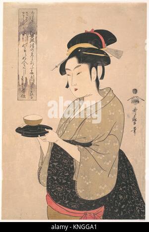 É' £ ae³¢ å±'ãŠããŸ/Okita der Naniwa-ya Tee-Haus. Artist: Kitagawa Utamaro (Japanisch, 1753?-1806); Zeitraum: Edo - Stockfoto
