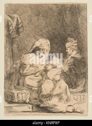 Die heilige Familie. Artist: Baron Dominique Vivant Denon (Französisch, Givry 1747-1825 Paris); Künstler: Nach Rembrandt - Stockfoto