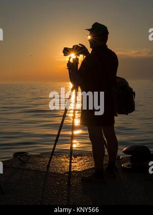 Rovinj Kroatien Meer Sonnenuntergang. - Stockfoto
