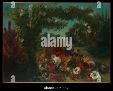 Korb mit Blumen. Künstler: Eugène Delacroix (Französisch, Charenton-Saint-Maurice 1798-1863 Paris); Datum: 1848 - Stockfoto