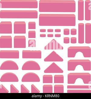 Gebäude Spielzeug Bausteine - rosa gefärbte Artikel für pädagogische Kinder spiel. Arch, Sticks, Ziegel, Würfel, - Stockfoto