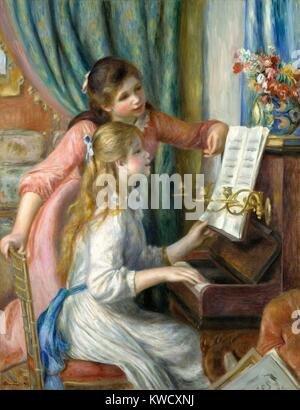 Zwei junge Mädchen am Klavier, von Auguste Renoir, 1892, französischer impressionistischer Malerei, Öl auf Leinwand. - Stockfoto