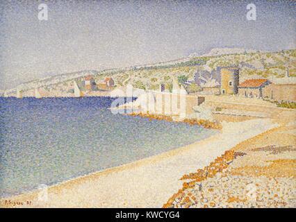 Die Mole in Cassis, Opus 198, von Paul Signac, 1889, French Post-Impressionist, Öl auf Leinwand. Dieses Gemälde - Stockfoto