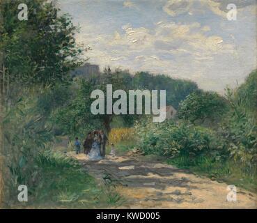 Eine Straße in Louveciennes, von Auguste Renoir, 1870, französischer impressionistischer Malerei, Öl auf Leinwand. - Stockfoto