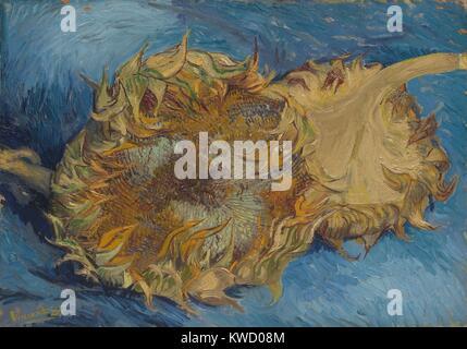 Sonnenblumen von Vincent Van Gogh, 1887, Dutch Post-Impressionist, Öl auf Leinwand. Der starke Kontrast von Farben, - Stockfoto