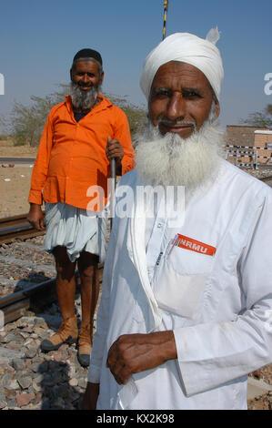 Eisenbahner, in Rajasthan, Indien - Stockfoto