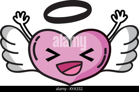 Glückliches Herz Engel kawaii mit Waffen - Stockfoto