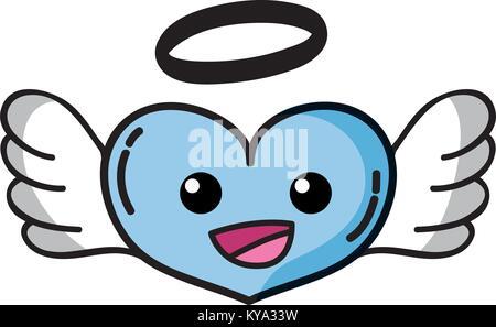 Glückliches Herz Engel kawaii Cartoon - Stockfoto