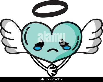 Weinende herzen Engel kawaii mit Waffen - Stockfoto