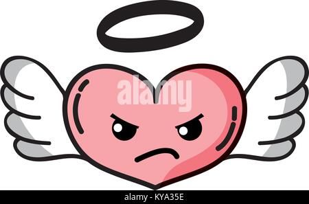 Angry Heart angel kawaii Cartoon - Stockfoto