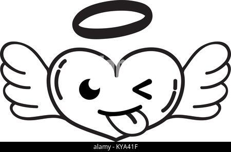 Zeile lustig Herz Engel kawaii Cartoon - Stockfoto