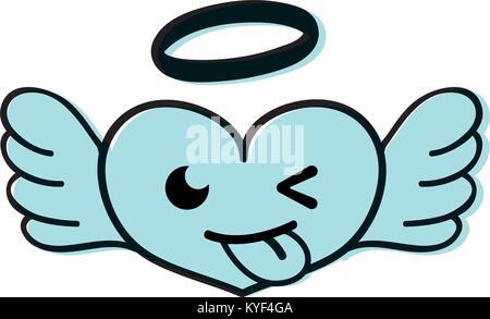 Farbe lustig Herz Engel kawaii Cartoon - Stockfoto