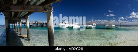 Boote auf Heron Island am südlichen Ende des Great Barrier Reef, Queensland, Australien - Stockfoto