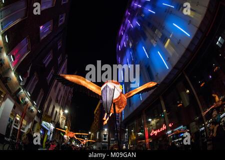 London, Großbritannien. 19 Jan, 2018. Lumiere London, der Hauptstadt der größten Arts Festival durch den Bürgermeister - Stockfoto