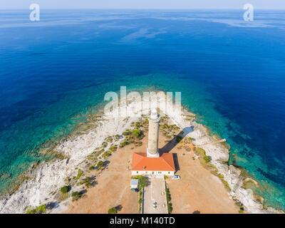 Kroatien, Dalmatien, Dalmatinischen Küste, Zadar, Insel Dugi Otok, Veli Rat Leuchtturm (Luftbild) - Stockfoto