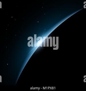 Aus dem Weltraum Dawn. Aus dem Weltraum Dawn. Rising Sun hinter der Erde. Vector Hintergrund - Stockfoto