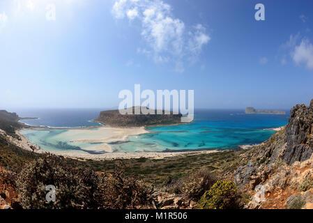 Lagune von Balos und der Halbinsel Gramvousa, Stadt Kissamos Chania, Kreta, Griechenland, Regionalbezik Balos Strand, - Stockfoto