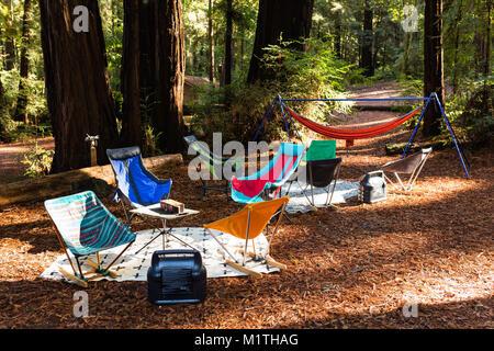 Folding camping Liegestühlen und Hängematten schmücken einen Campingplatz in einem Redwood Forest - Stockfoto