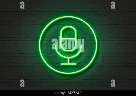 Neonlicht Symbol Mikrofon - Stockfoto