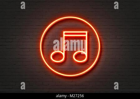 Neonlicht Symbol Musik - Stockfoto