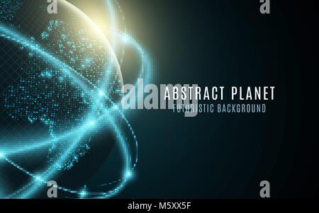 Futuristischen Planeten Erde. Glühende Weltkarte der Punkte. Zusammenfassung Hintergrund. Platz Komposition. Globales - Stockfoto