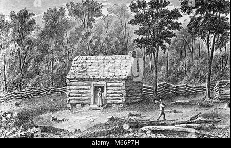 1800s 1830s ZEICHNUNG FRONTIER LOG CABIN VON ABE LINCOLN'S VATER THOMAS LINCOLN IN ILLINOIS Haus inmitten von Wald - Stockfoto