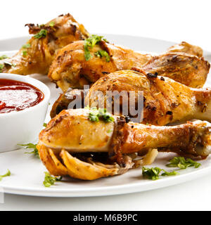 Roast Chicken Drumsticks und Gemüse - Stockfoto