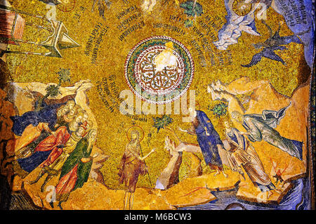 Das 11. Jahrhundert byzantinischen Kirche des Heiligen Erlösers in Chora und ein Mosaik von Satan versucht Jesus - Stockfoto