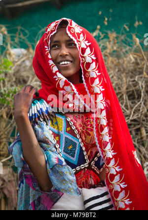 Raya Stamm Frau mit einem bunten Perlen Baby Carrier in ihr zurück, Semien Wollo Zone, Woldia, Äthiopien - Stockfoto